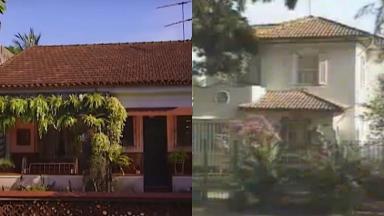 Montagem com a fachada das casas de A Grande Família e Mundo da Lua