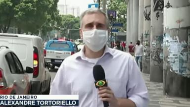 O repórter Alexandre Tortoriello em sua última aparição no Jornal da Band