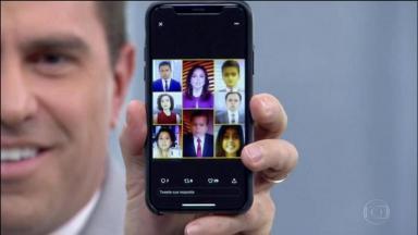 """Rodrigo Bocardi com o celular na mão, mostra a tela com uma montagem com fotos infantilizadas dos apresentadores do """"Bom Dia Brasil"""""""