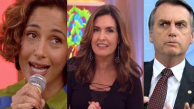 Camila Pitanga, Fátima Bernardes e Jair Bolsonaro