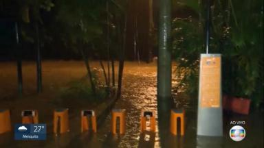 Globo mostrando enchente no Rio de Janeiro