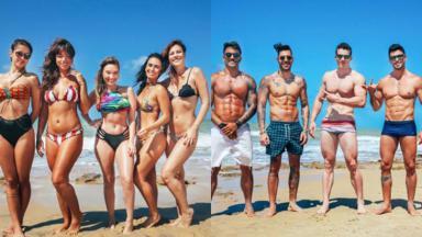 """Participantes do """"De Férias com o ex"""" com roupas de banho na praia"""