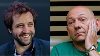 Tela dividida entre Gregório Duvivier e Luciano Hang