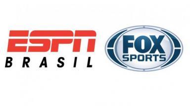 Montagem com os logos da ESPN Brasil e da Fox Sports