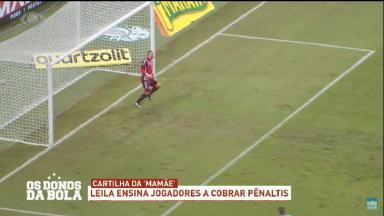 Pênalti sendo cobrado por jogador do Palmeiras exibido pelo Os Donos da Bola