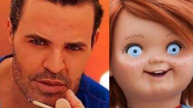 Eduardo Costa e boneco Chuck