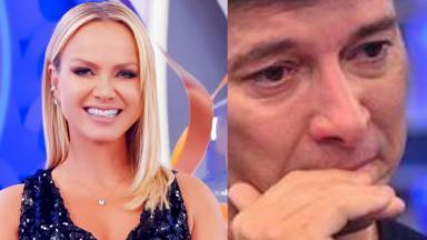 Tela dividida em montagem com Eliana sorrindo e Rodrigo Faro chorando