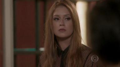 Foto da cena em que Eliza, bem chateada, briga com Jonatas