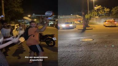 Manifestantes batendo panela na frente dos estúdios da Globo