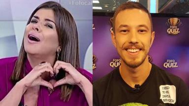 Mara Maravilha e Gabriel Cartolano, do Fofocalizando em tela dividida por montagem