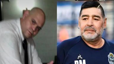 Funcionário da funerária e Maradona