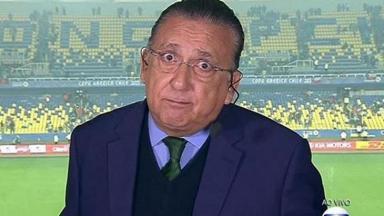 Galvão Bueno com cara de sem jeito na transmissão da Globo