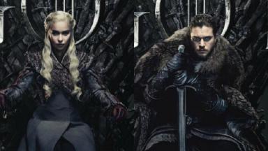 """Personagens do elenco de """"Game of Thrones"""" sentados no trono"""