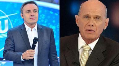 Tela dividida em montagem com Gugu Liberato e Ricardo Boechat