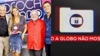 """Equipe do """"Fofocalizando"""" e logotipo do quadro """"Isso a Globo Não Mostra"""""""