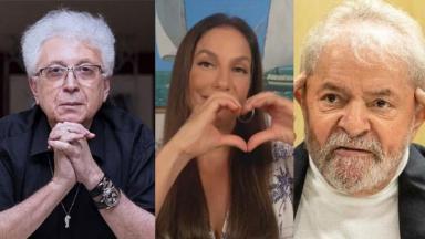 Montagem com imagem de Aguinaldo Silva, Ivete Sangalo e Lula
