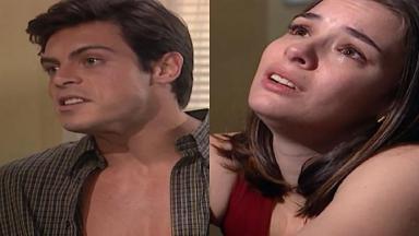 Montagem de fotos com cenas de Laços de Família na briga de Clara e Fred