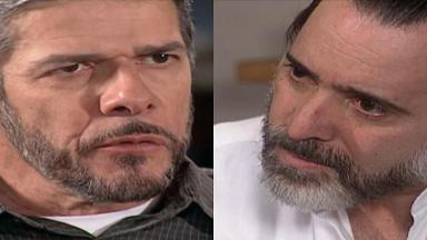 Montagem de cenas de Laços de Família com Pedro e Miguel