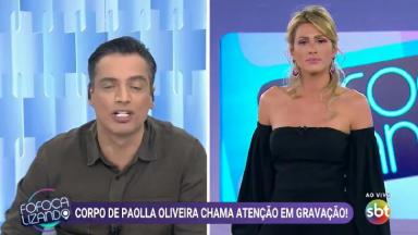 Leo Dias e Livia Andrade em tela dividida durante o Fofocalizando