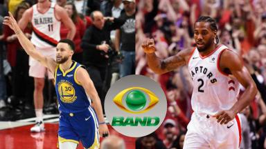 Jogadores da NBA e o logo da Band