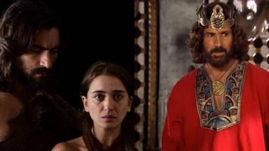 Montagem de fotos com cenas de Gênesis e do Rei Davi