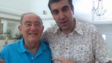 Rafael Spaca posa para foto com Renato Aragão, o Didi de Os Trapalhões