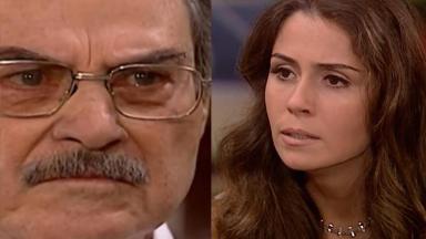 Montagem de fotos com Capitu (à direita)e Pascoal ( à esquerda) na novela Laços de Família