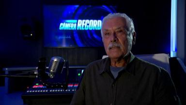Paulo Figueiredo no estúdio do Câmera Record