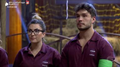 Thayse Teixeira e Lucas Viana durante o reality show A Fazenda 2019