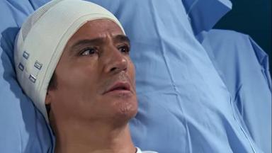 Cena de Quando me Apaixono com Gonçalo acordado no hospital