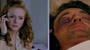 Montagem de foto da cena de Quando me Apaixono com Renata falando com Jerônimo por telefone
