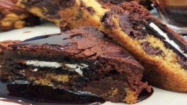 Receita do brownie com cookie da Ana Maria Braga