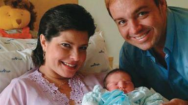 Rose Miriam di Matteo e Gugu Liberato no nascimento do 1º filho