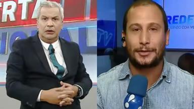O apresentador Sikêra Jr e o repórter Rodrigo Assis