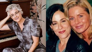 Soraya Ravenle, atriz de Laços de Família, sentado perto do piano, à esquerda, e ao lado de Vera Fischer, à direita, em montagem do NaTelinha