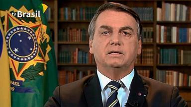 Jair Bolsonaro durante discurso transmitido pela TV Brasil