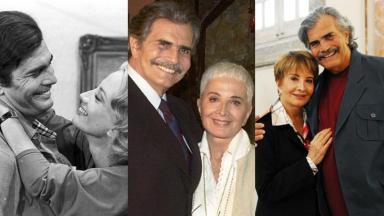 O casal Tarcísio Meira e Glória Menezes em diferentes momentos da vida