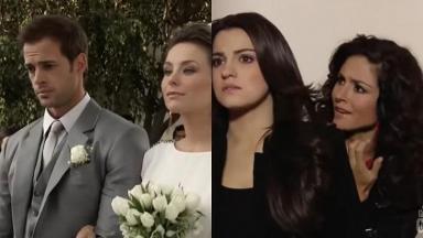 Montagem de fotos com cenas de Triunfo do Amor com Max se casando com Helena e Maria vendo escondida