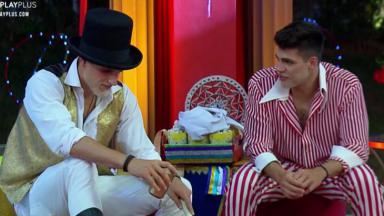 Netto e Lucas conversando em A Fazenda 2019