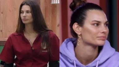 Montagem de Dayane Melho na sede de A Fazenda 13, séria, com o cabelo solto na primeira imagem e de coque na segunda imagem, olhando para o lado direito