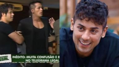 Montagem de Tiago Piquilo no Telegrama Legal, do Domingo Legal, e sorridente na sede de A Fazenda 13