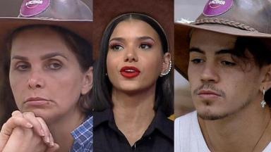 Colagem de Luiza Ambiel, Jakelyne Oliveira e Biel com o chapéu de fazendeiro