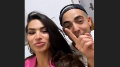 Raissa e Lucas em story do instagram