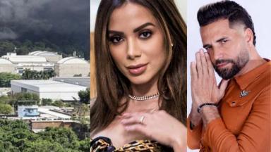 Incêndio na Globo (à esquerda), Anitta (meio) e Latino (à direita) em foto montagem