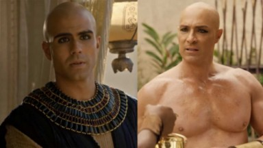 José tenso; Faraó sem camisa preocupado