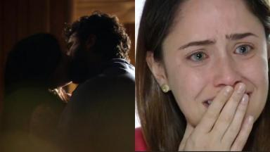 Manu e Gabriel aos beijos (à esquerda) e Ana chorando (à direita) em A Vida da Gente