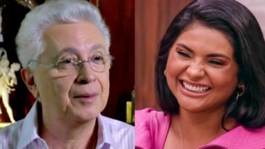 Aguinaldo Silva em entrevista; Mileide Mihaile sorrindo em A Fazenda