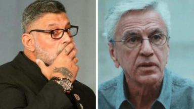 Alexandre Frota com mão na boca e Caetano Veloso irritado