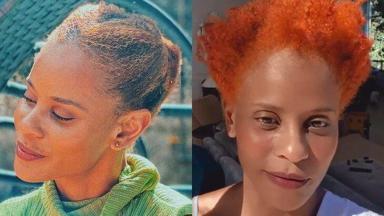 Aline Wirley antes da tintura e depois, com cabelo laranja