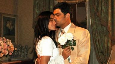 Priscila Fantin e Eduardo Moscovis como Serena e Rafael em cena da novela Alma Gêmea